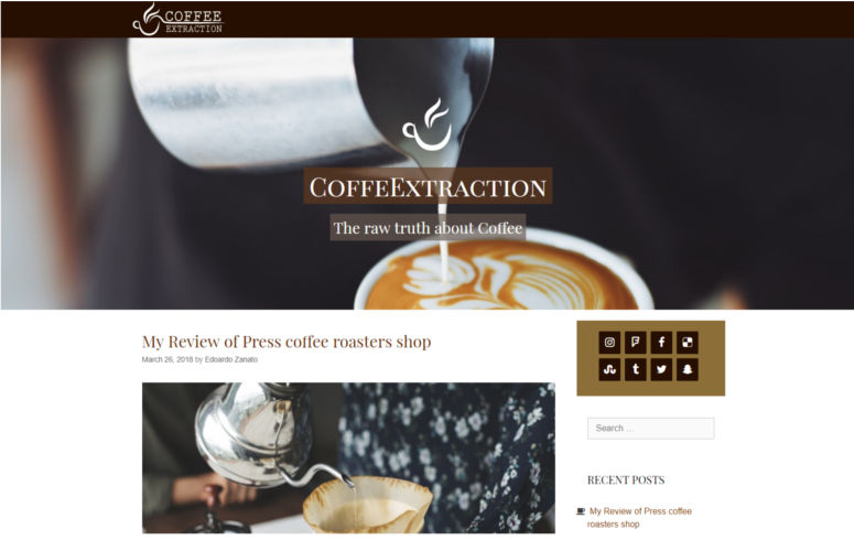 coffeextraction web portfolio