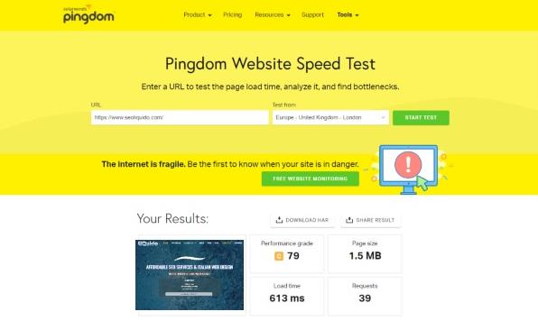 seoliquido_website_speed_pingdom