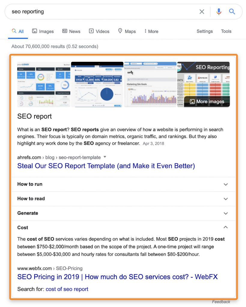 seo report featured snippets